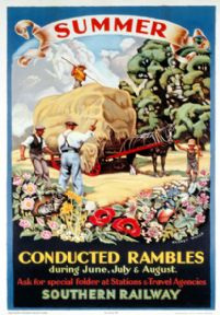 Summer, Conducted Rambles. SR Vintage Travel poster by Audrey Weber. 1936